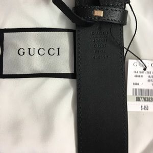 Gold buckle GG Black leather pigskin